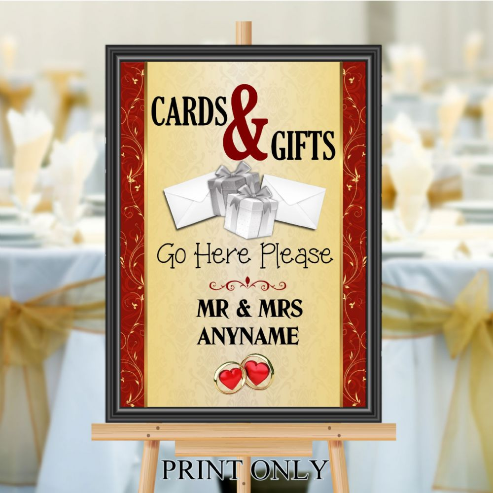 Personalised Wedding Cards & Gifts Sign